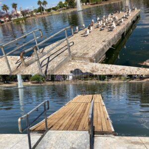 Pressure cleaned boat dock