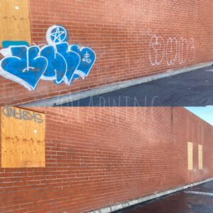 before and after of pressure washed brick building