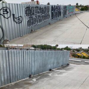 pressure washed metal fencing