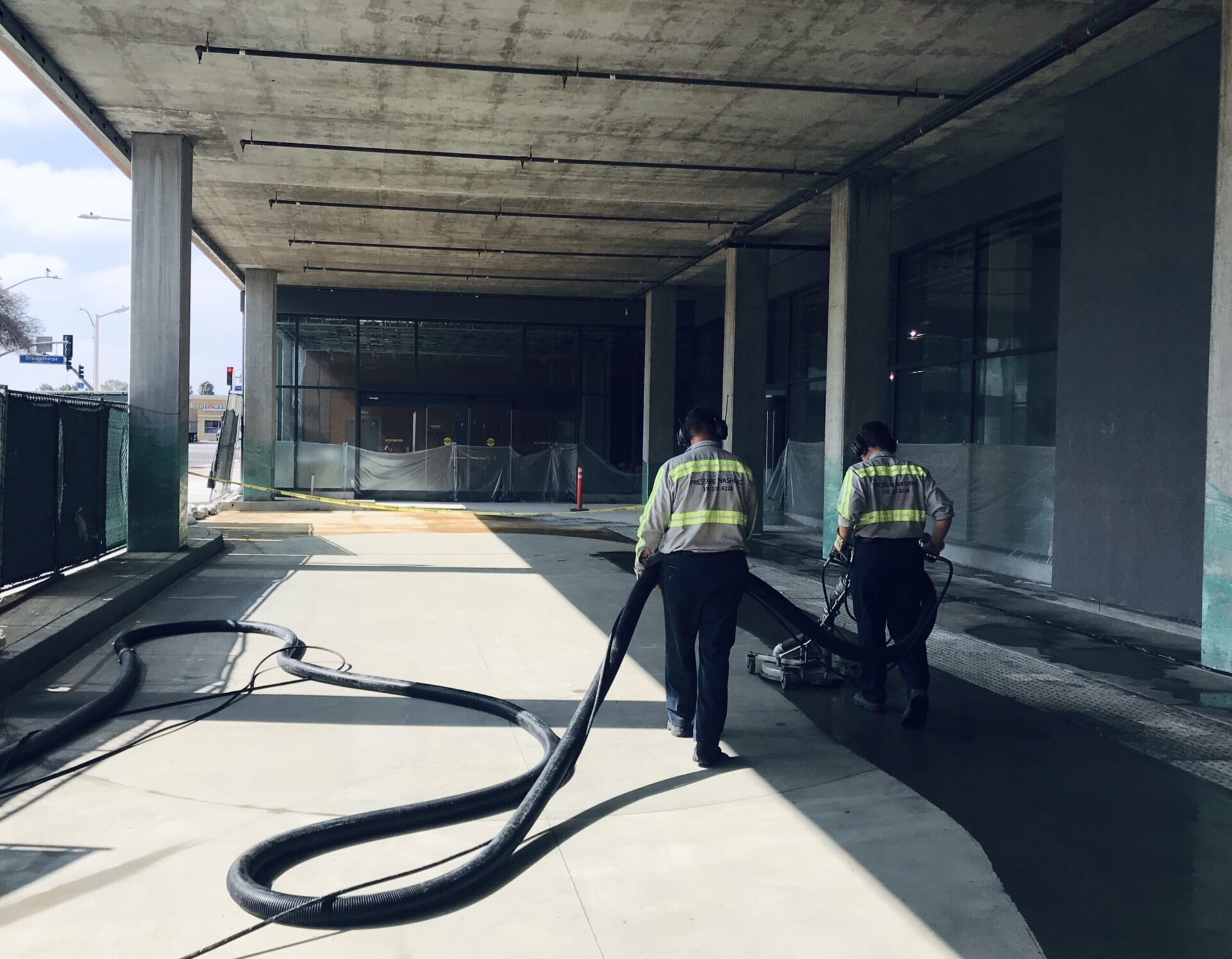 Pressure Washers cleaning office grounds